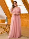 Plus Size Long Flowy Evening Dress With V Neck-Mauve 4