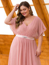 Plus Size Long Flowy Evening Dress With V Neck-Mauve 5
