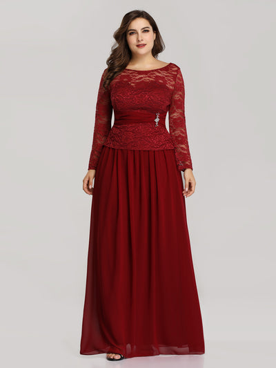 Elegant A Line Long Sleeve Lace Evening Dress For Women