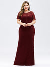 Short Sleeve Long Burgundy Lace Evening Dress-Burgundy 8