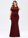 Short Sleeve Long Burgundy Lace Evening Dress-Burgundy 9