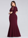 Plus Size Fitted Burgundy Evening Dress-Burgundy 2