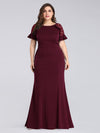 Plus Size Fitted Burgundy Evening Dress-Burgundy 1