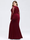 Plus Size Fishtail Dresses With Long Lace Sleeve-Burgundy 2
