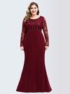 Plus Size Fishtail Dresses With Long Lace Sleeve-Burgundy 4