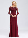 Fishtail Dresses With Long Lace Sleeve-Burgundy 1