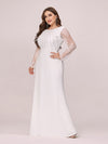 Fishtail Dresses With Long Lace Sleeve-Cream 3