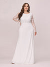Fishtail Dresses With Long Lace Sleeve-Cream 1