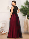 Plus Size Maxi Long Prom Dresses With Mesh-Burgundy 2