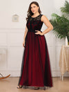 Plus Size Maxi Long Prom Dresses With Mesh-Burgundy 3