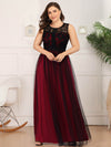 Plus Size Maxi Long Prom Dresses With Mesh-Burgundy 4