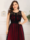 Plus Size Maxi Long Prom Dresses With Mesh-Burgundy 5