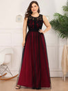 Plus Size Maxi Long Prom Dresses With Mesh-Burgundy 1