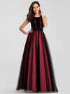 Maxi Long Prom Dresses With Mesh-Burgundy 1