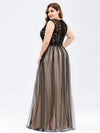 Plus Size Maxi Long Prom Dresses With Mesh-Black 2