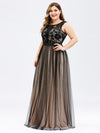 Plus Size Maxi Long Prom Dresses With Mesh-Black 3