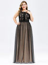 Plus Size Maxi Long Prom Dresses With Mesh-Black 1