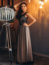 Maxi Long Prom Dresses With Mesh-Black 3
