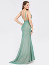 Sexy V-Neck Backless Fishtail Maxi Dress-Dark Green 2