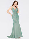 Sexy V-Neck Backless Fishtail Maxi Dress-Dark Green 3