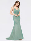 Sexy V-Neck Backless Fishtail Maxi Dress-Dark Green 4