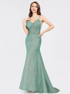 Sexy V-Neck Backless Fishtail Maxi Dress-Dark Green 1