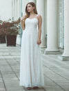 Spaghetti Straps Sweet Heart Neckline Lace Wedding Dresses-White  4