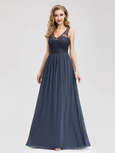 Bridesmaid Dress with Lace Bust and V-Neck