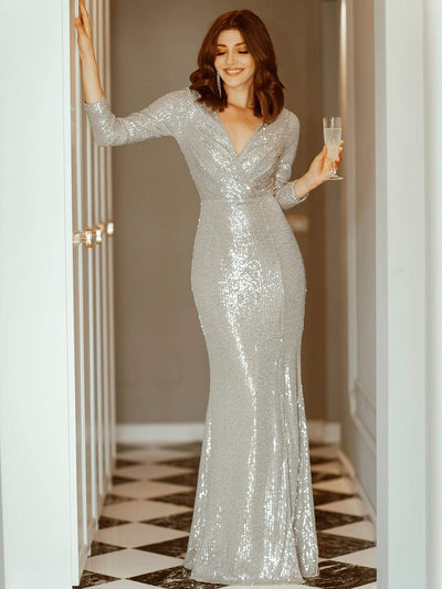 Shiny V Neck Long Sleeve Sequin Evening Party Dress