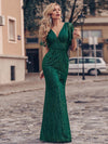 Deep V Neck Shiny Fishtail Evening Dress With Flutter Sleeves-Dark Green 1