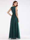 Elegant A Line V Neck Hollow Out Long Bridesmaid Dress With Lace Bodice-Dark Green  2