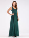 Elegant A Line V Neck Hollow Out Long Bridesmaid Dress With Lace Bodice-Dark Green 3