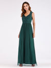 Elegant A Line V Neck Hollow Out Long Bridesmaid Dress With Lace Bodice-Dark Green 4