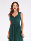 Elegant A Line V Neck Hollow Out Long Bridesmaid Dress With Lace Bodice-Dark Green  5