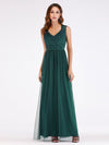 Elegant A Line V Neck Hollow Out Long Bridesmaid Dress With Lace Bodice-Dark Green 1