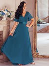 Long Empire Waist Evening Dress With Short Flutter Sleeves-Teal 7