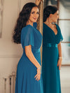 Long Empire Waist Evening Dress With Short Flutter Sleeves-Teal 4