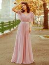 Long Flowy Evening Dress With V Neck-Mauve 1