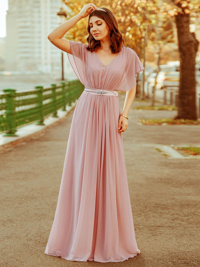 Long Flowy Evening Dress with V Neck