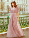 Long Flowy Evening Dress With V Neck-Mauve  6