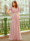 Long Flowy Evening Dress With V Neck-Mauve 7