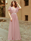 Long Flowy Evening Dress With V Neck-Mauve  2