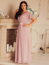 Long Flowy Evening Dress With V Neck-Mauve 8