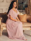 Long Flowy Evening Dress With V Neck-Mauve  9