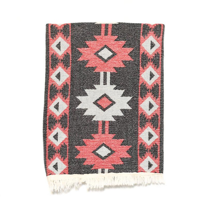 Aztec Print Double Layer Turkish Towel - Red/Black/Cream