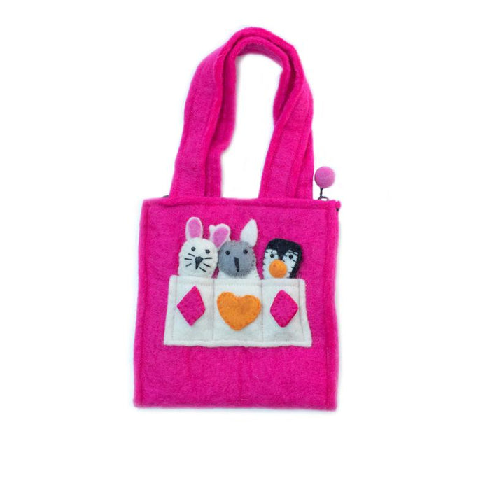 Child's Felt Puppet Purse from Nepal - Bright Pink