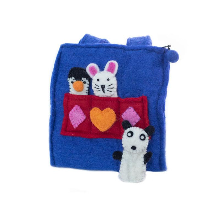 Child's Felt Puppet Purse from Nepal - Royal