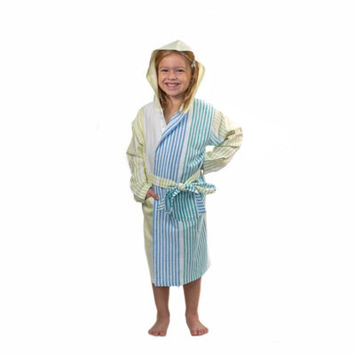 Childs Striped Turkish Towel Robe - Blue/Green