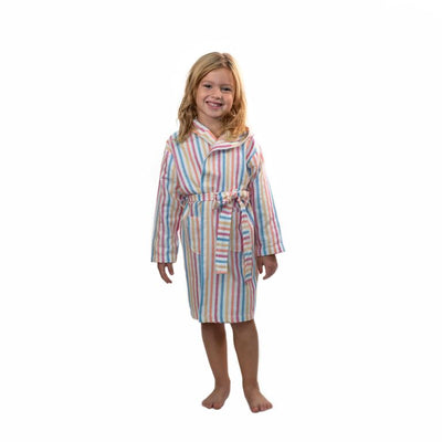 Childs Striped Turkish Towel Robe - Rainbow Stripe