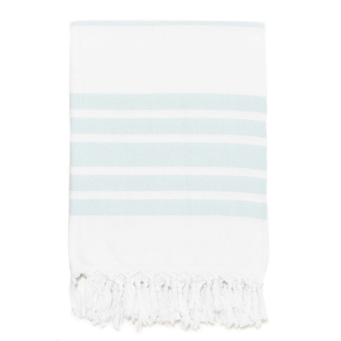 Classic Herringbone Striped Turkish Towel - Aqua